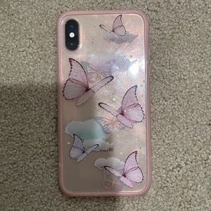 Pink & Clear with Butterflies iPhone XS Phone Case